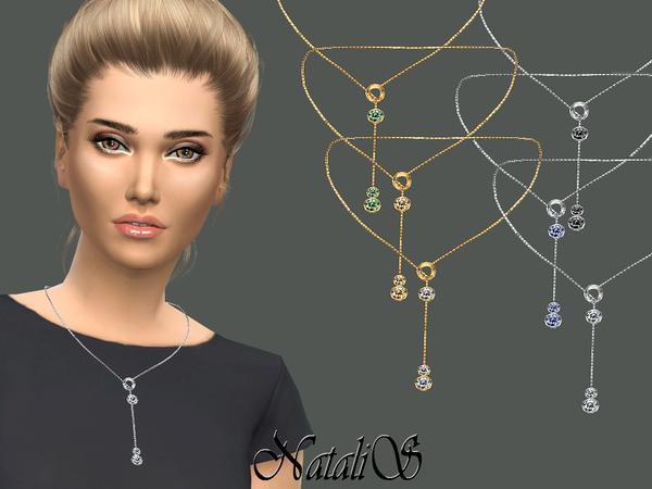 Circle and Crystals Drop Necklace by NataliS at TSR image 3618 Sims 4 Updates