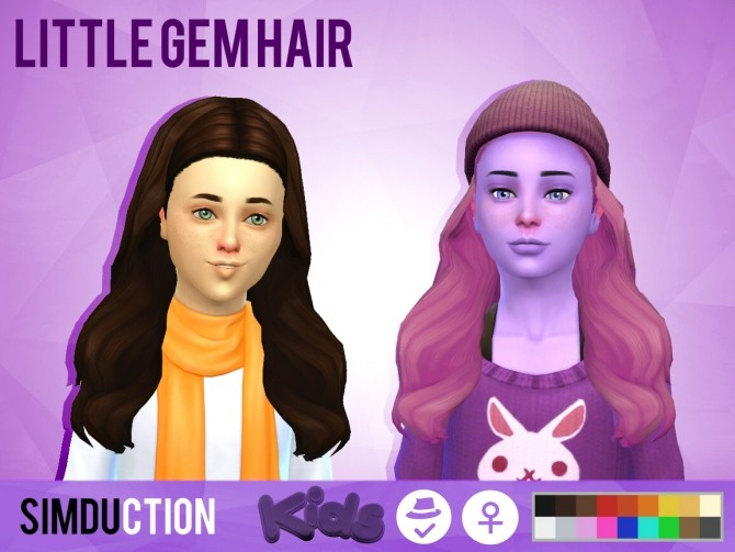 Sims 4 Little Gem Hair and Little Strange Hair at Simduction