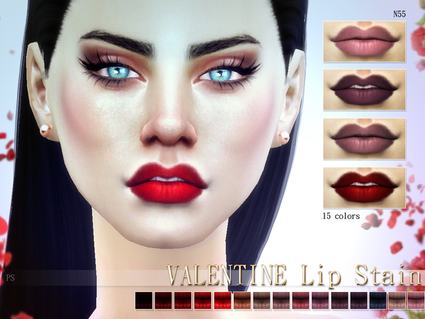 Sims 4 Valentine Lip Stain N55 by Pralinesims at TSR