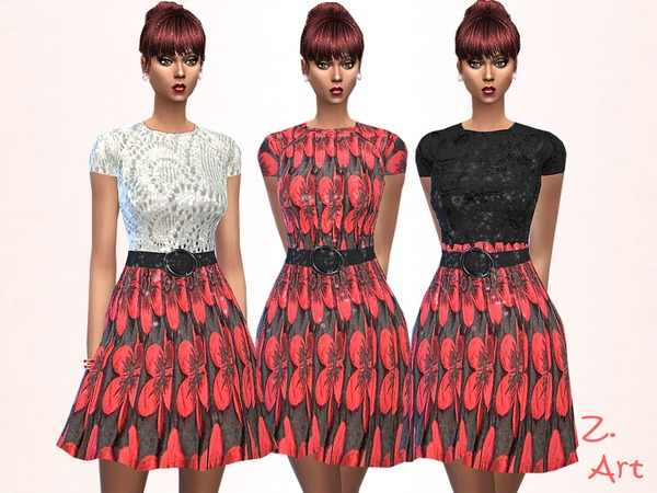 Sims 4 Red Variation dress by Zuckerschnute20 at TSR