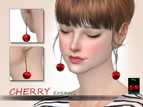 Cherry earrings N02 by S Club WM at TSR image 3927 Sims 4 Updates