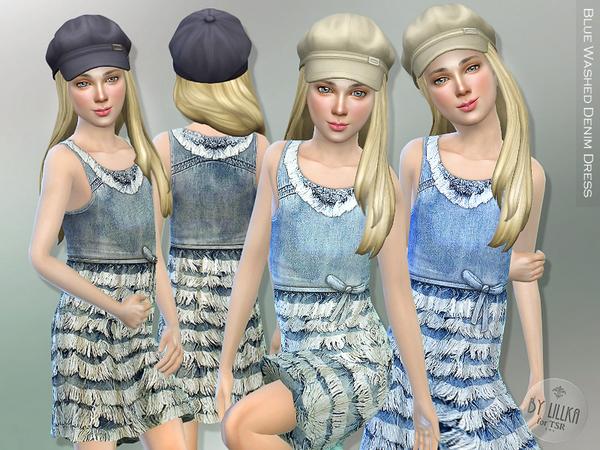 Sims 4 Blue Washed Denim Dress by lillka at TSR