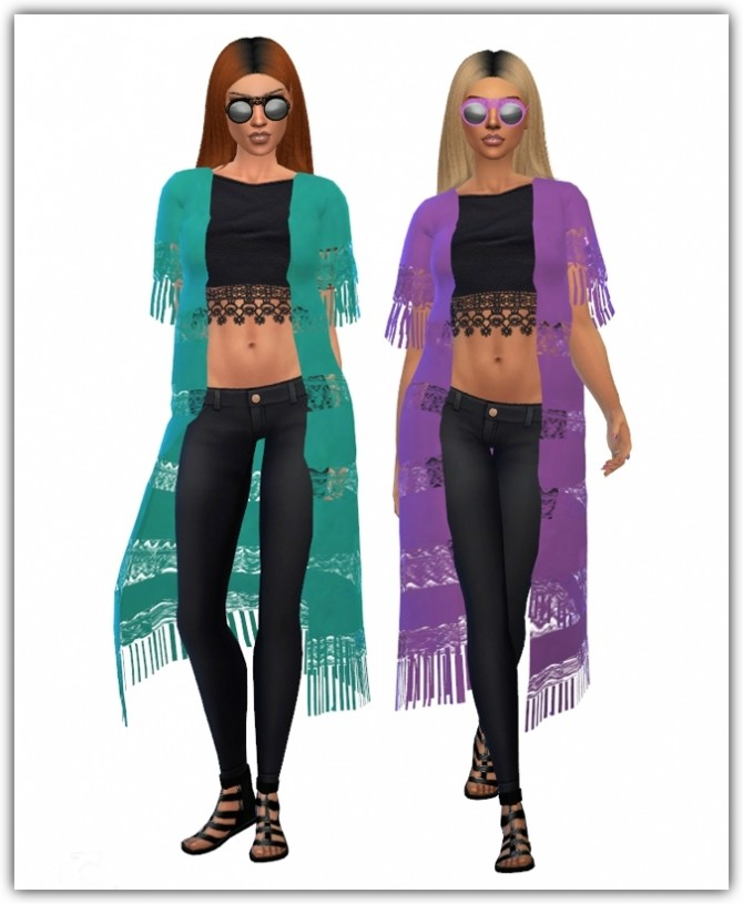 Sims 4 Acc Fringe Lace Cardigan Recolors at Maimouth Sims4
