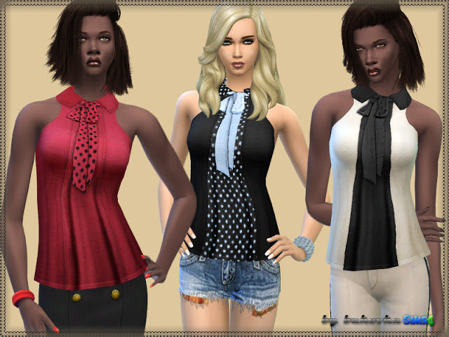 Sims 4 With a Bow Blouse at Bukovka