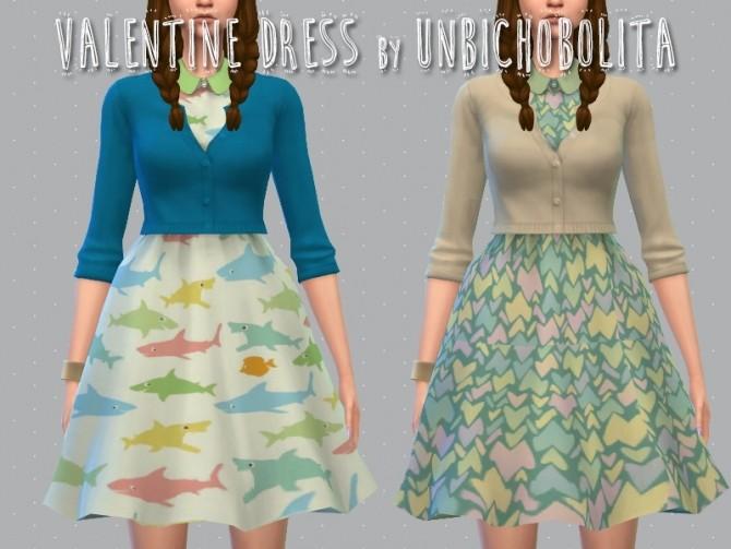 Sims 4 Valentine Collar Dress at Unbichobolita