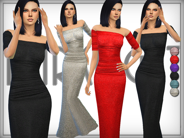 Metallic Stretch Jersey Gown by DarkNighTt at TSR image 4413 Sims 4 Updates