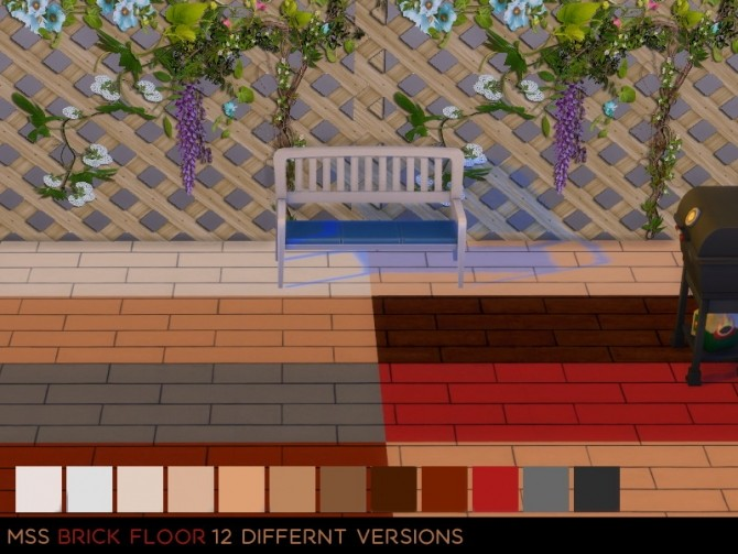 Sims 4 Brick Floor by midnightskysims at SimsWorkshop