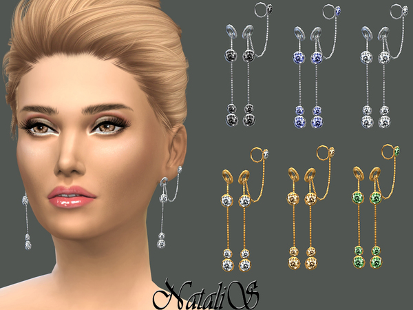 Circle and Crystals Drop Earrings by NataliS at TSR image 470 Sims 4 Updates