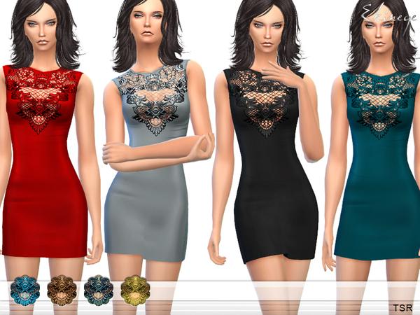 Sims 4 Lace Detail Mini Dress by ekinege at TSR