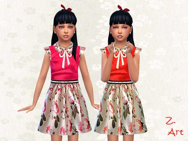 Sims 4 Rosalie shiny satin dress by Zuckerschnute20 at TSR