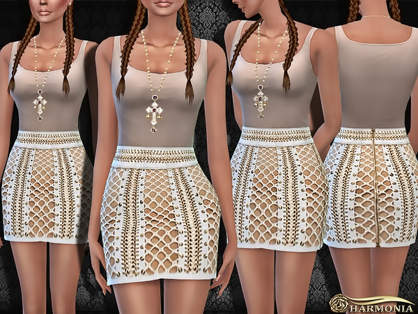 Sims 4 Designer Lace up Leather Mini Skirt by Harmonia at TSR