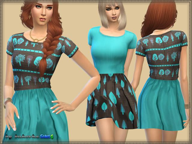 Sims 4 Dress Brown & Turquoise at Bukovka