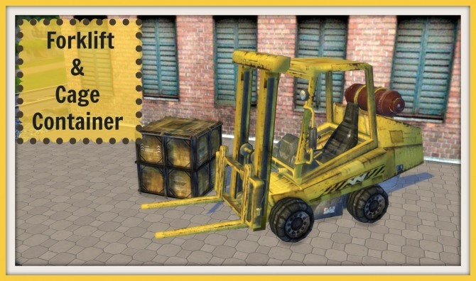 Sims 4 Forklift & Cage Container at Dinha Gamer