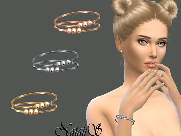 Sims 4 Triple beads bracelets by NataliS at TSR