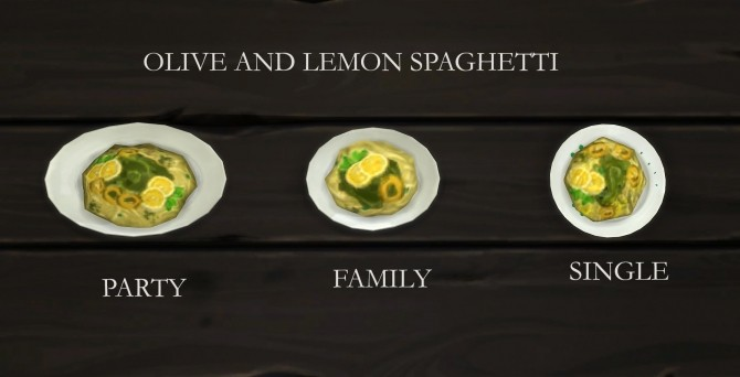 Olive and Lemon Spaghetti Custom Food by icemunmun at Mod The Sims image 6611 670x342 Sims 4 Updates