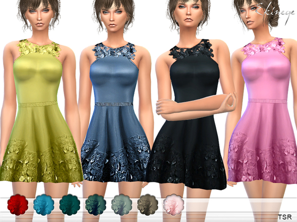 Flower Applique Dress by ekinege at TSR image 680 Sims 4 Updates
