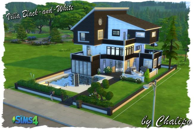 Sims 4 Black and White Villa by Chalipo at All 4 Sims