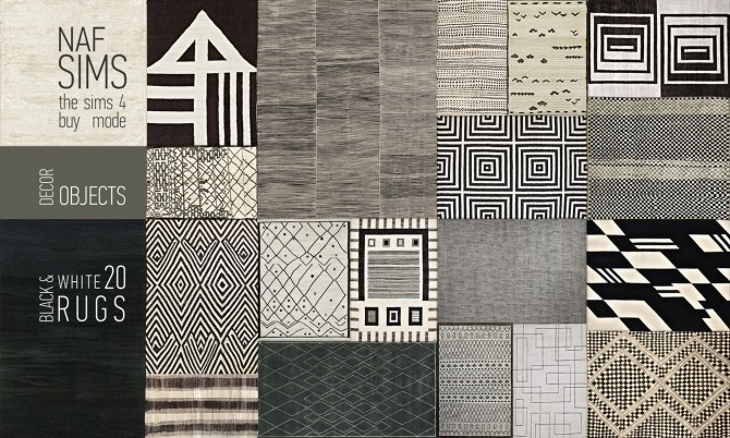 Black Amp White Rug Collection By Nafsims At Mod The Sims