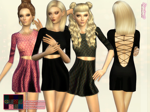 Sims 4 Open Back Lace up Minimal Dress by Simsimay at TSR