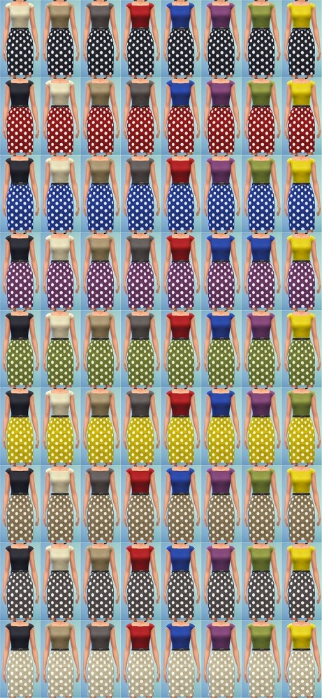 Sims 4 Two Tone Dress with Polka Dots by Bronwynn at Mod The Sims