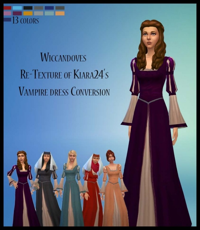 Medieval recolors of Kiara24s Vampire Dress by Wiccandove at SimsWorkshop image 8213 670x771 Sims 4 Updates