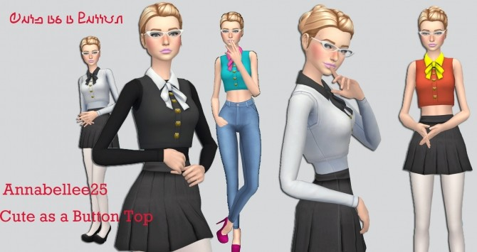 Sims 4 Cute as a Button Top by Annabellee25 at SimsWorkshop