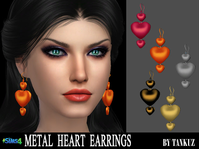 Metal Heart Earrings at Tankuz Sims4 image 8611 Sims 4 Updates