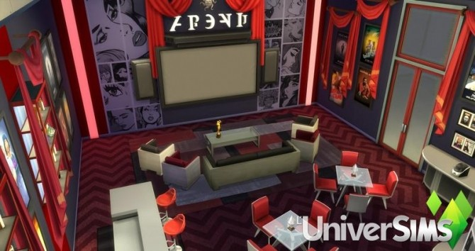 Sims 4 Red Carpet Home Theater salon by olideg at L'UniverSims