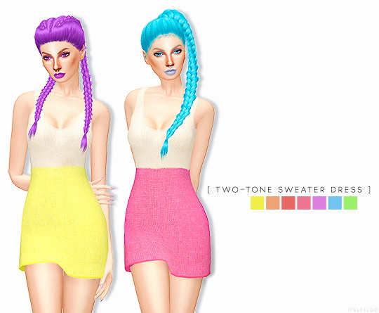 Sims 4 TWO TONE SWEATER DRESS at Leeloo