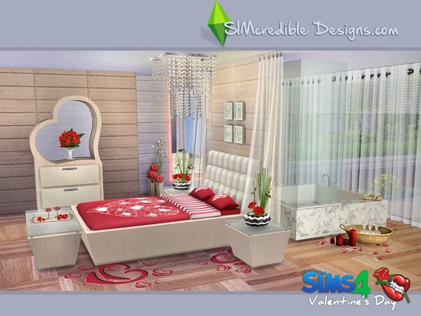 Sims 4 Valentines Day 2016 bedroom with bathtub by SIMcredible at TSR