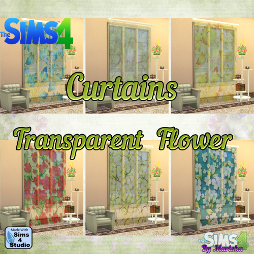 Sims 4 Trasparent Flowers Curtains by Mariska at Ladesire