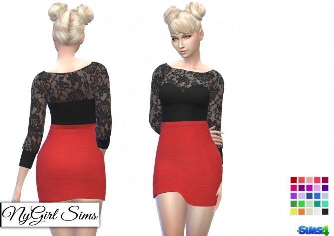 Sims 4 Lace Top and Bandage Skirt Dress at NyGirl Sims
