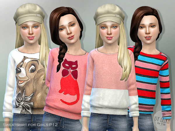 Sims 4 Printed Sweatshirt for Girls P12 by lillka at TSR