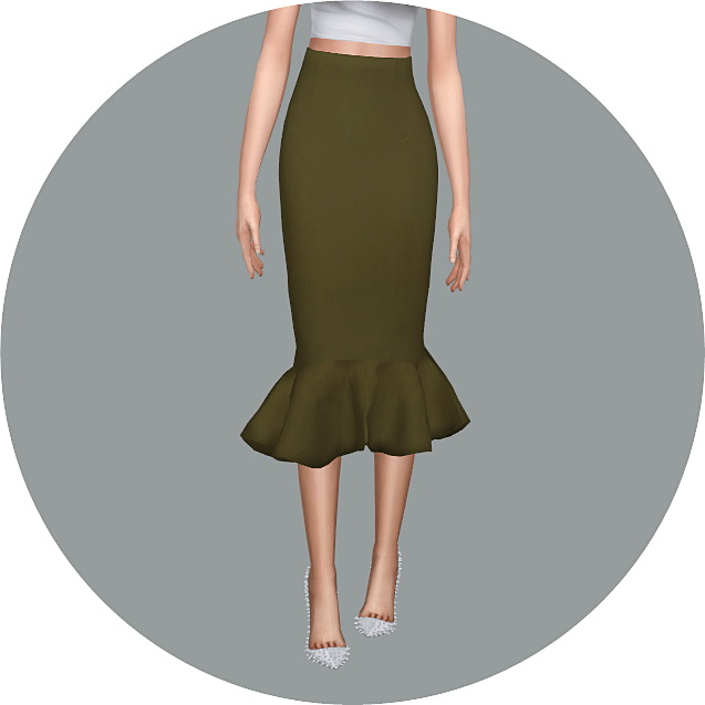 Mermaid Line Midi Skirt v2 single colors at Marigold image 998 Sims 4 Updates