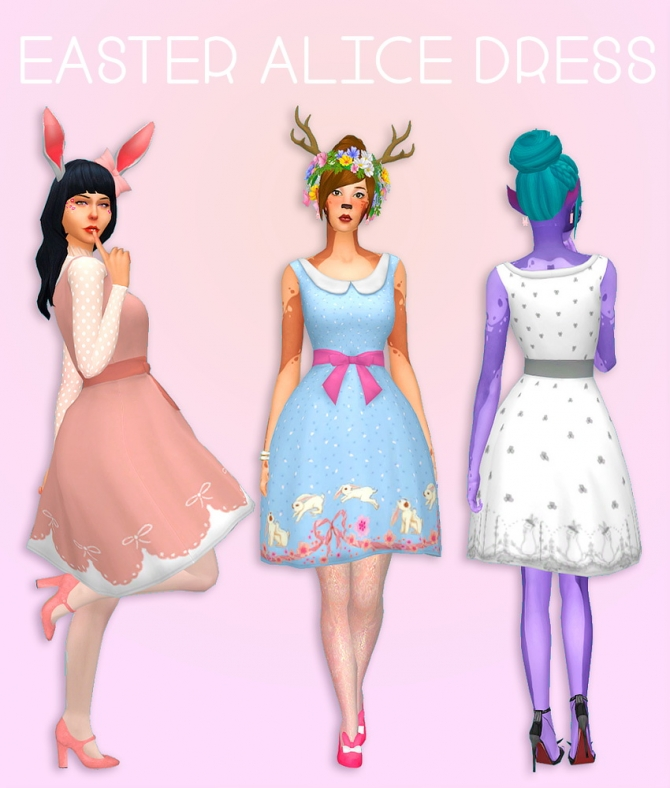 Easter Alice Dress 1 By Dtron At Simsworkshop 187 Sims 4 Updates