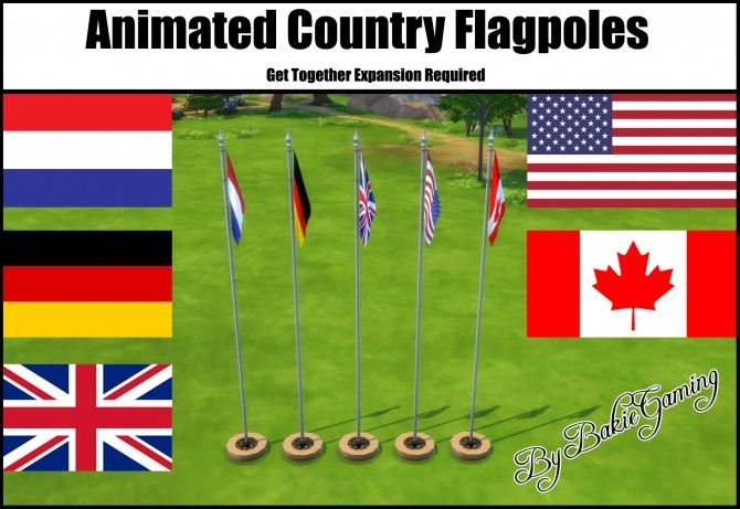Sims 4 Animated Country Flagpoles by Bakie at Mod The Sims