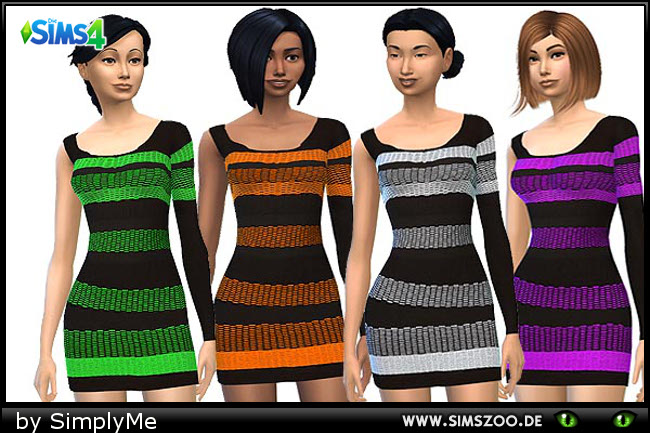 Sims 4 Black dress with neon stripes by SimplyMe at Blacky's Sims Zoo