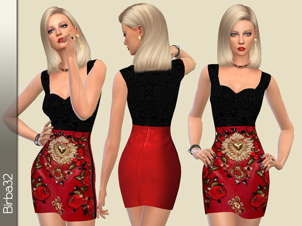 Embellished leather dress by Birba32 at TSR image 1119 Sims 4 Updates
