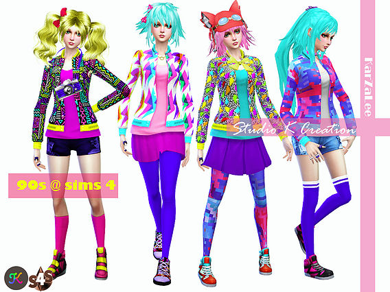 90 S Neon Mix Amp Match At Studio K Creation 187 Sims 4 Updates