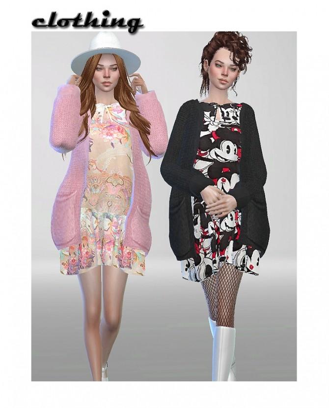 Sims 4 Dress with cardigan at ShojoAngel