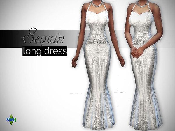 Sims 4 Sequin Long Dress by LRimshard at TSR