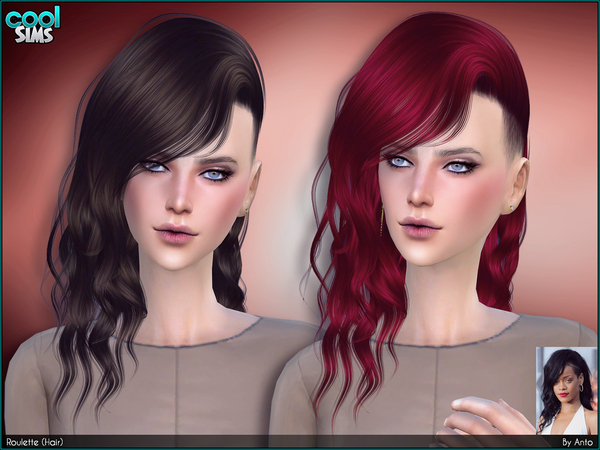 Sims 4 Roulette hair by Anto at TSR