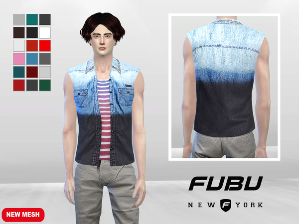 Sims 4 Jayvee Denim Dye Shirt by McLayneSims at TSR