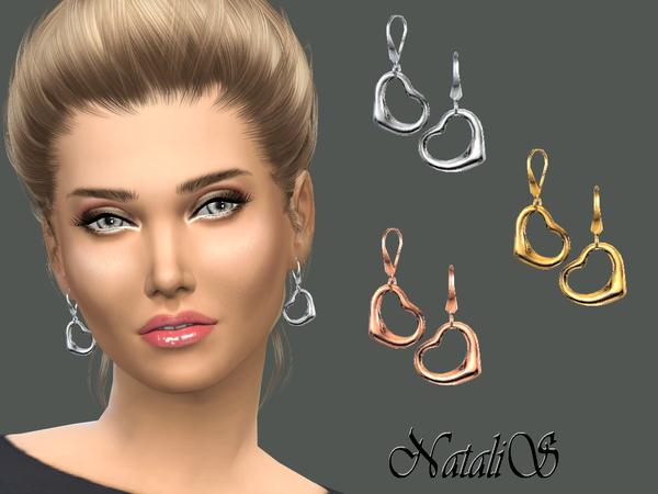 Sims 4 Heart drop earrings by NataliS at TSR