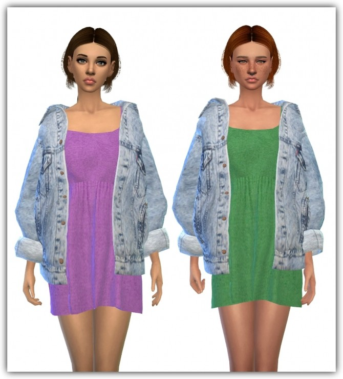 Vintage Denim Jacket Dress Recolors at Maimouth Sims4 image 13214 670x739 Sims 4 Updates