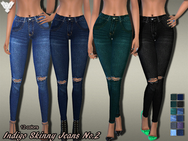 Sims 4 Indigo Skinny Jeans No.02 by Pinkzombiecupcakes at TSR