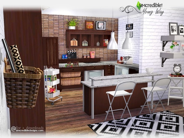 Sims 4 Young Way Kitchen by SIMcredible! at TSR