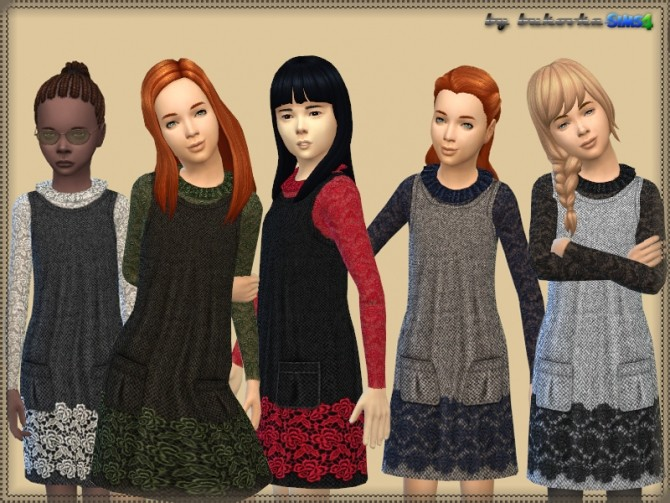 Sims 4 Dress & Lace Blouse at Bukovka