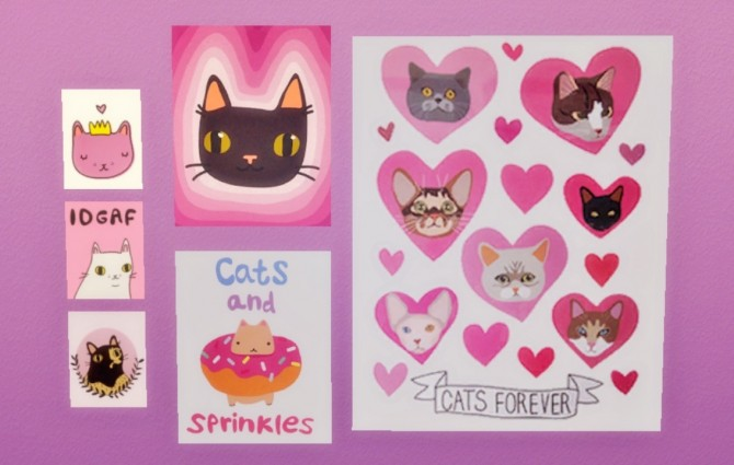 I Like CATS! Poster Set at Hamburger Cakes image 170 670x425 Sims 4 Updates