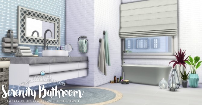 Serenity bathroom set at simsational designs sims 4 updates for Bathroom ideas sims 3